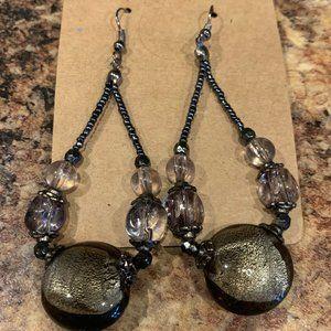 "Bronze Gray Glass Beaded Dangle Earrings 3"""